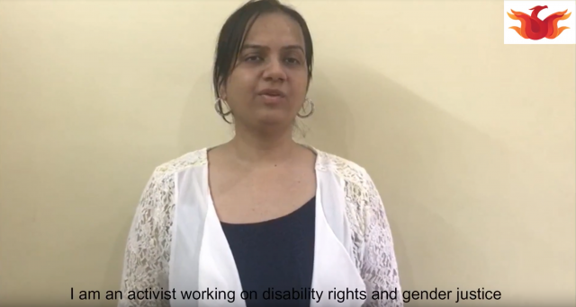 Nidhi Goyal is seen here in a screenshot of a video where she is speaking to the camera while giving a byte. She is wearing a white shirt. At the bottom of image the following text is there: I am an activist working on disability rights and gender justice.