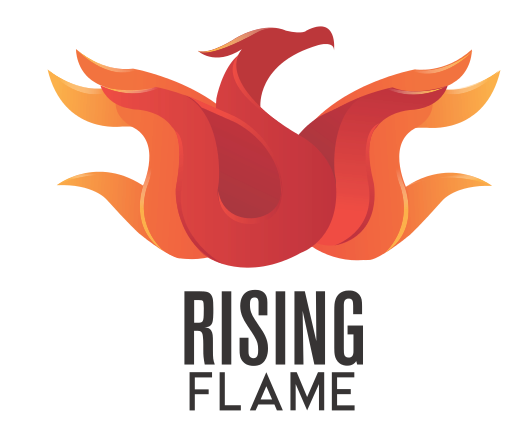 Rising Flame Logo: It is a phoenix facing upward with its head to the right. Its wings are in the shape of flames all around it. The phoenix is poised to take flight. The centre of the phoenix is red and the outer layers are dark orange and the last layer is light orange. Below the icon the words Rising Flame are written.
