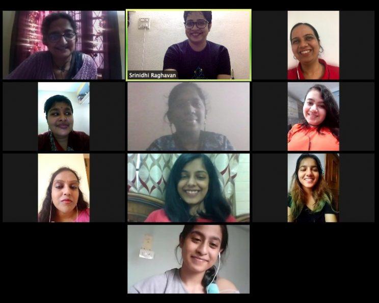 a screenshot from the final zoom call. top to bottom- hansa, srinidhi raghavan, nidhi goyal, shree lekka, nalini sagar, kavya mukhija, asha rani, pratishtha deveshwar, srishti pandey and Chayanika iyer