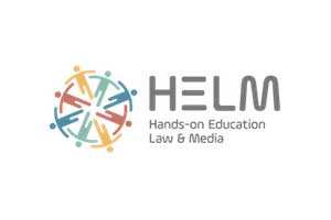 Helm Logo: This is the logo for Helm studio. On the left side there are eight figures which are interlinked in a circle. It looks like they are holding hands. They are yellow, green and blue in colour. Beside it is written Helm, Hands on Education Law and Media