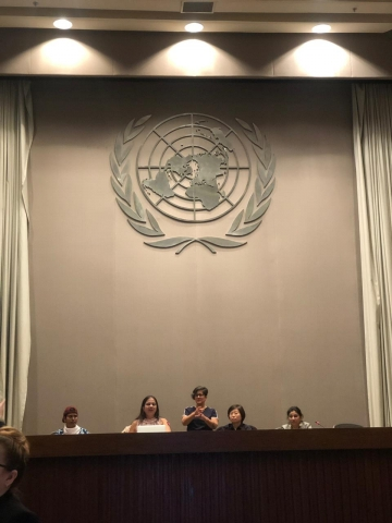nidhi on a panel with smitha sadasivan, jing and rama dhakal. the UN logo behind them. sign language interpreter standing behind them
