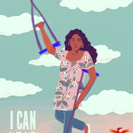A young woman dressed in a pink kurta with floral print is standing with her crutches against the blue sky with clouds. Her right hand with the crutch is lifted in the air while one of her legs are bent. On the left hand bottom corner it says in bold letters, I Can Lead. Illustration by Upasana Agarwal. On the right hand corner is the Rising Flame logo.A deep red phoenix facing upward is about to take flight. The wings are like flames in shades of red and orange around it. Below this in black are the words: Rising Flame. Logo by Pia Alize