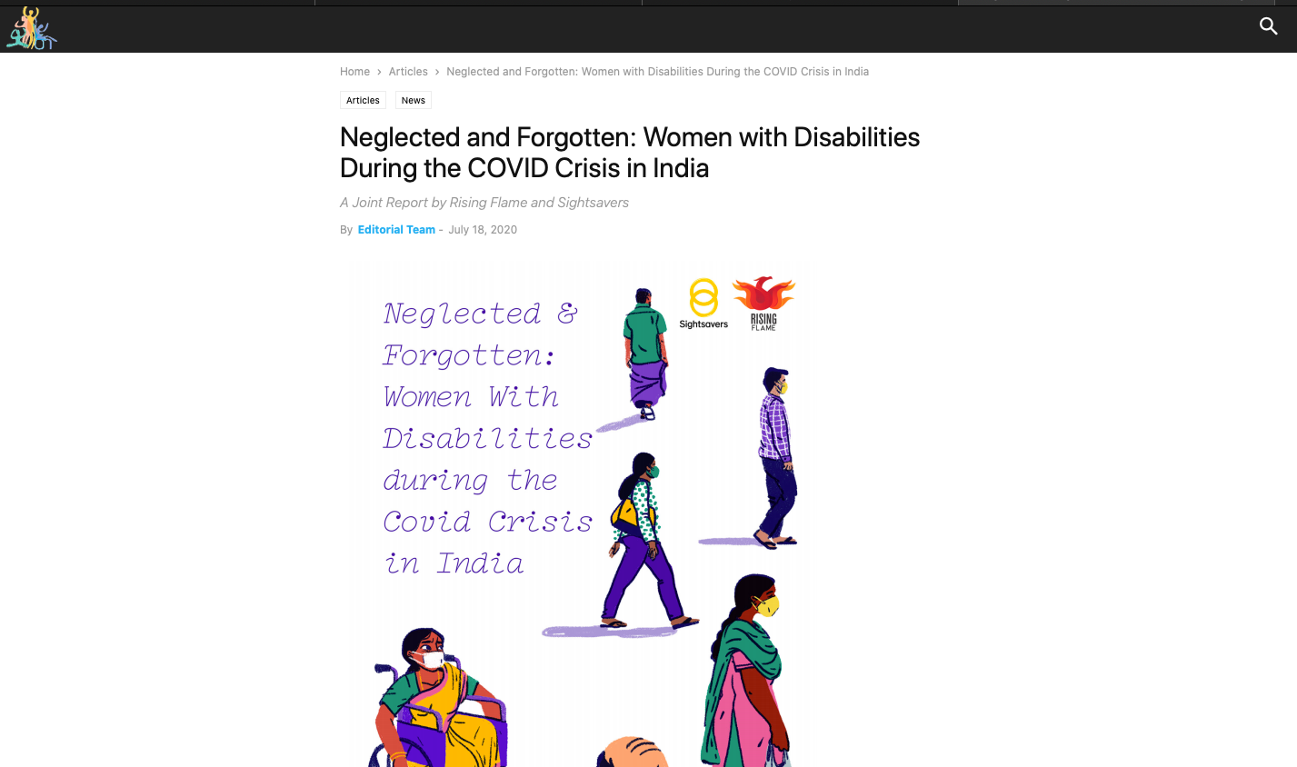 "Mad in Asia has published an article on the report named, ""Neglected & Forgotten: Women With Disabilities During COVID-19 in India ""  it is written by The Editorial Team on 18th July 2020."