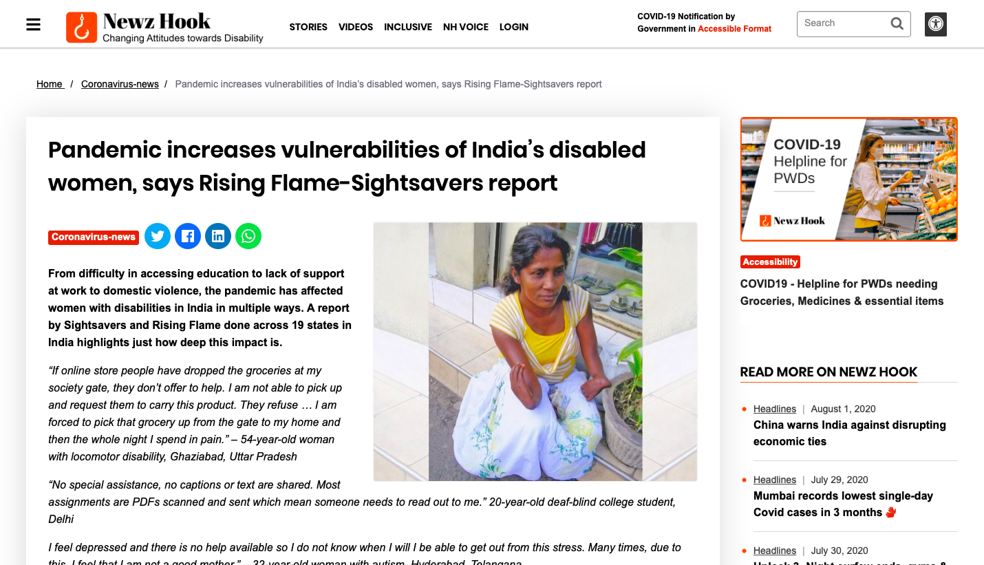 "Newz Hook published an article called ""Pandemic increases vulnerabilities of India's disabled women, says Rising Flame-Sightsavers report"" in regard to the report."