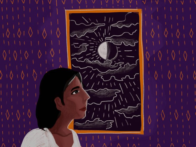 purple background with small designs in orange. A window in the middle with an orange frame, shows a black sky with outlines of clouds, and a half eclipsed moon, shining in the middle. A person with long open hair in a white top at the left of the image, looking out the window. Art by Upasana Agarwal.