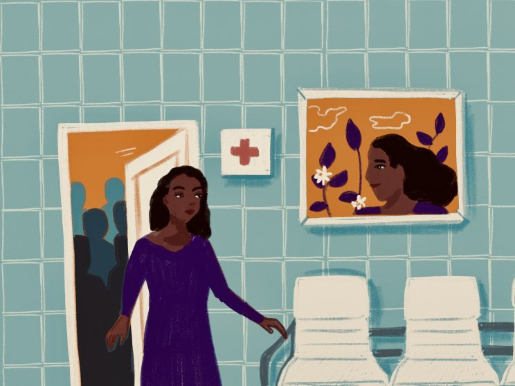 The background is a blue tiled wall. It is a hospital scene where a woman is walking away from a room full of men whose outlines are all we see. Next to her in the lobby of the hospital is a framed picture of a person with long hair on it, as well as a first aid sign next to it. Chairs are seen in the lobby.